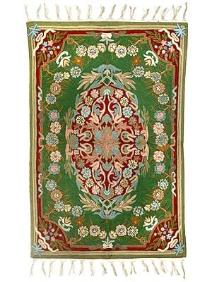 Banana-Crepe Carpet from Kashmir with Ari-Embroidered Flowers in Multicolor Thread