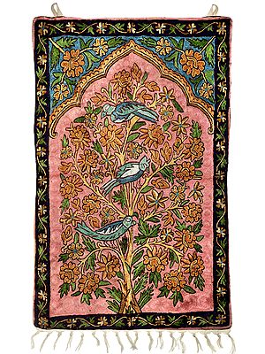 Multicolor Wall Hanging cum Carpet with Ari-Embroidered Florals and Parrots