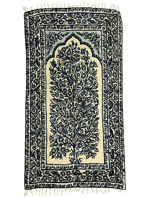 Ivory Floral Carpet from Kashmir with Multicolor Thread Embroidered Sparrows and Butterflies