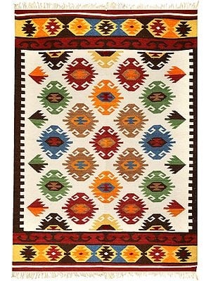 Off-White Handloom Dhurrie from Sitapur with Kilim Motif in Multicolor Thread