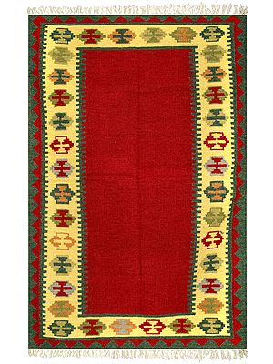 Rococco-Red Handloom Dhurrie from Sitapur with Kilim Weave Border
