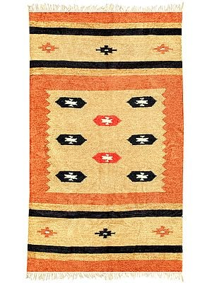 Orange-Ochre Dhurrie from Sitapur with Woven Motifs