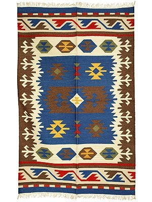 Butternut and Blue Handloom Dhurrie from Sitapur with Woven Kilim Motifs