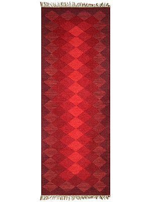 Runner from Mirzapur with Self Weave in Shades of Red