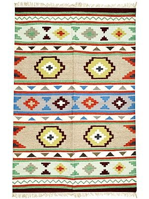 Ivory Kilim Dhurrie from Sitapur with Woven Multicolor Stripes and Motifs