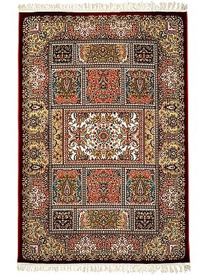 Deep-Claret Handloom Carpet from Bhadohi with Knotted Persian Design