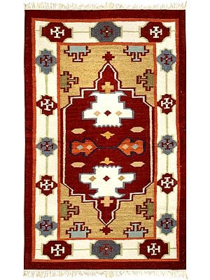 Mineral-Red Handloom Dhurrie from Sitapur with Kilim Weave