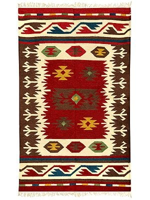 Brown and Red Handloom Dhurrie from Sitapur with Kilim-Woven Motifs
