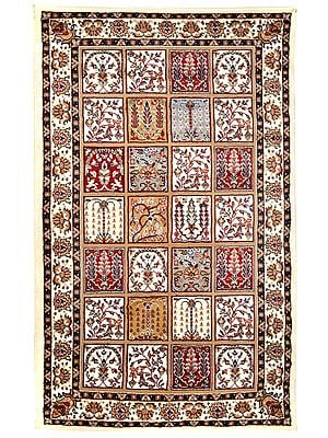 Winter-White Handloom Carpet From Bhadohi with Knotted Persian Motifs