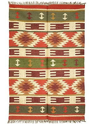 Vineyard Green Handloom Carpet from Sitapur with Woven Kilim Motifs All-Over