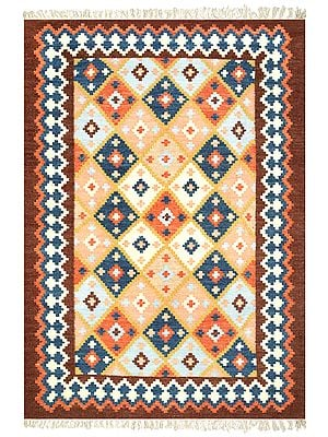 Bison Handloom Dhurrie from Sitapur with Woven Kilim Mosaic All-Over