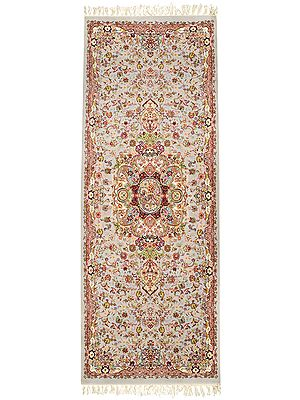 London-Fog Runner from Sitapur with Weaved Persian Design