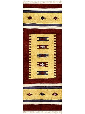 Jojoba Kilim Runner From Sitapur with Woven Motifs