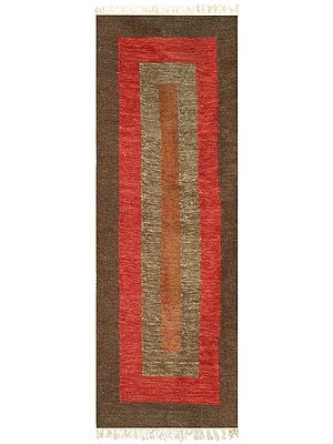 Partridge Kilim-Knotted Floor Runner from Sitapur