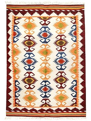 Moon-Struck Kilim-Woven Handloom Dhurrie from Sitapur with Folk Motifs