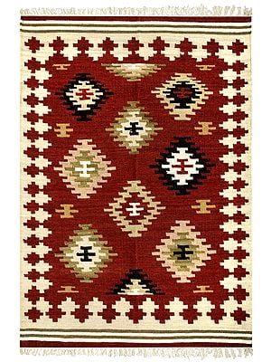 Burnt-Henna Handloom Dhurrie from Sitapur with Woven Kilim Motifs All-Over