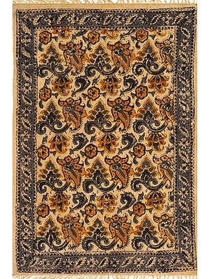 New-Wheat Kalamkari Dhurrie from Telangana with Printed Florals