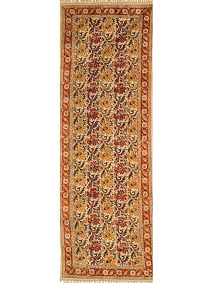 Tandori-Spice Kalamkari Runner from Telangana with Printed Flowers