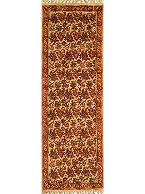 Almond-Buff Kalamkari Runner from Telangana with Printed Florals