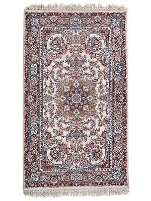 Pastel Rose Tan Handloom Carpet from Bhadohi with Persian Design