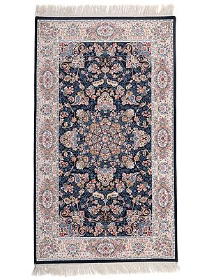 Midnight Handloom Carpet from Bhadohi with Floral Motifs