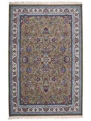 Avocado Handloom Carpet from Kashmir with Knotted Flowers