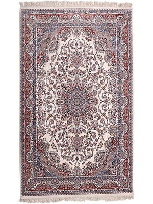 Pearled Ivory Carpet from Bhadohi with Persian Motifs