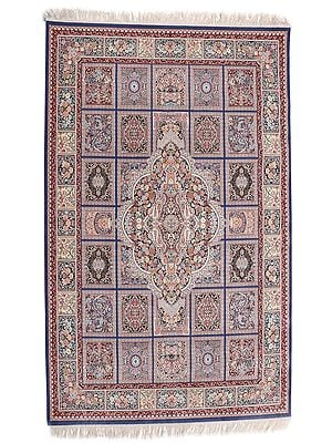 Creme Brulee Handloom Carpet from Kashmir with Persian Design All-Over
