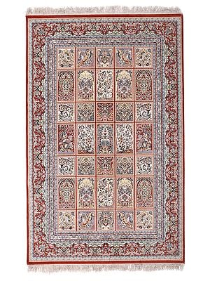 Coral Haze Handloom Carpet from Bhadohi with Persian Design All-Over