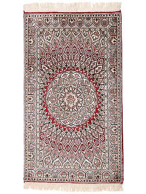 "50"" x 28"" Mars-Red Handmade Pure Silk on Silk Superfine Carpet from Kashmir"