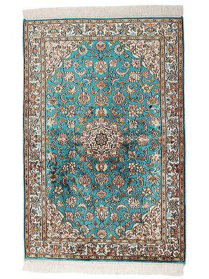 "50"" x 28"" Turquoise Handmade Pure Silk on Silk Superfine Carpet from Kashmir"