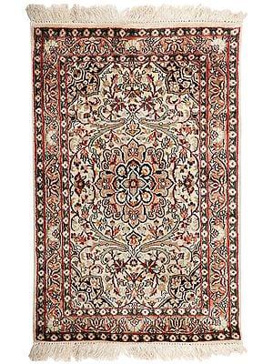 "37"" x 25"" Beige Handmade Pure Silk on Silk Superfine Carpet from Kashmir"