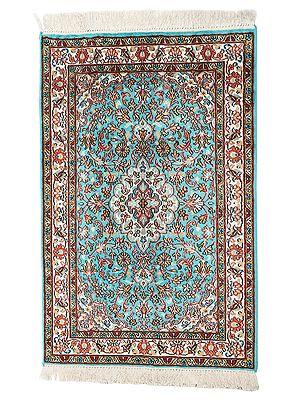 "37"" x 25"" Turquoise Handmade Pure Silk on Silk Superfine Carpet from Kashmir"