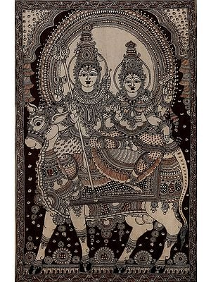 Shiva-Parvati On The Back Of A Beauteous Nandi