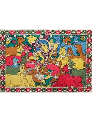 Krishna Sporting with His Cows