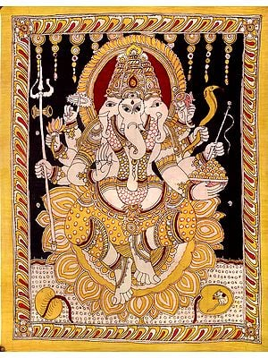 Trimukha Cosmic Ganesha With Eight Arms