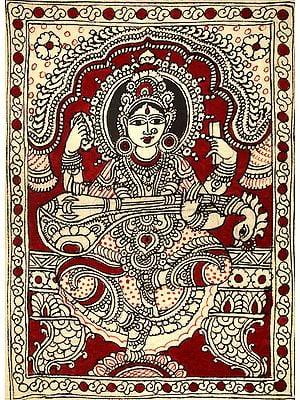 Goddess Saraswati Kalamkari Painting on Cotton