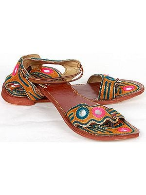 Tan Sandals with Threadwork and Mirrors