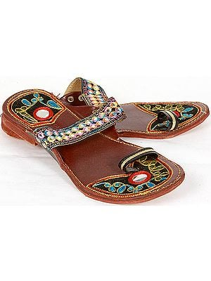 Cherry Embroidered Chappals with Mirrors