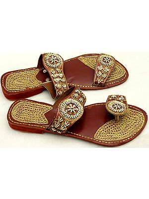 Cherry Sandals with Threadwork