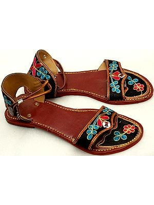Flat Chappals with Floral Thread-Embroidery