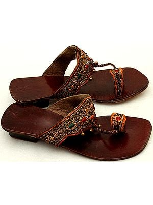 Brown Sandals with Thread-Embroidery