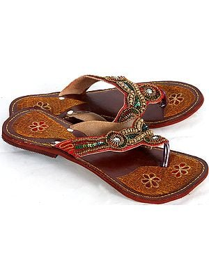 Dark-Maroon Sandals with Sequins and Beads