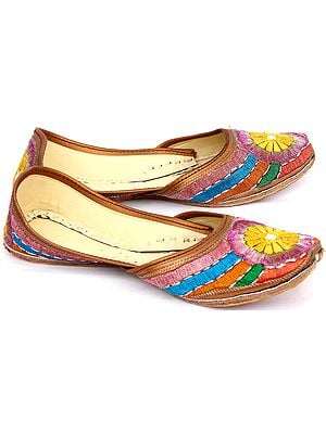 Multi-color Embroidered Mojaris with Mirror