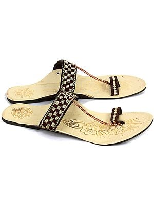 Tri-Color Chappals with Embroidery