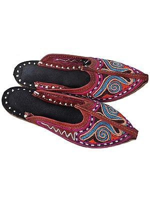 Leather-Brown Slippers for Kids with Multi-Color Ari Embroidery