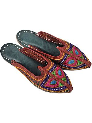 Brown Slippers for Children with Metallic Thread Embroidery
