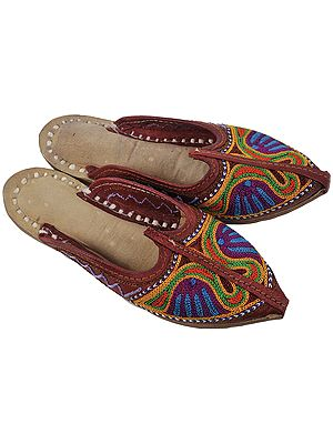 Bisque-Brown Slippers for Kids with Multi-Color Ari Embroidery