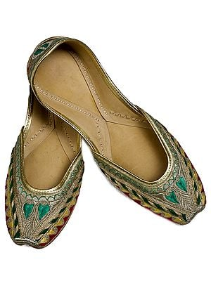 Beige and Green Hand-Embroidered Phulkari Jooties