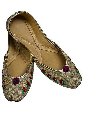 Beige Phulkari Jooties from Punjab with Silver Ari Embroidery